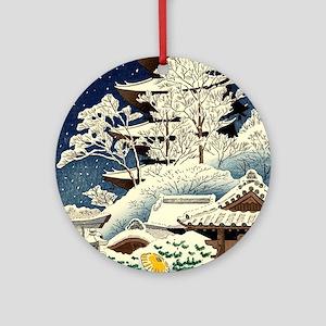 Cool Japanese Oriental Snow Winter Round Ornament