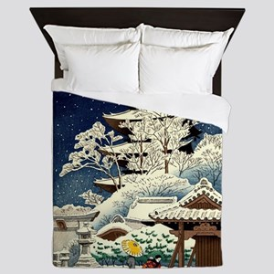 Cool Japanese Oriental Snow Winter Queen Duvet