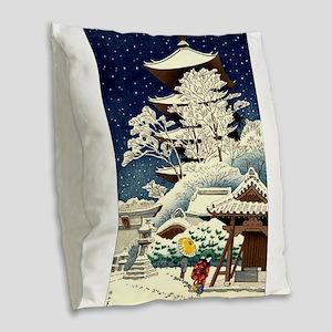 Cool Japanese Oriental Snow Wi Burlap Throw Pillow