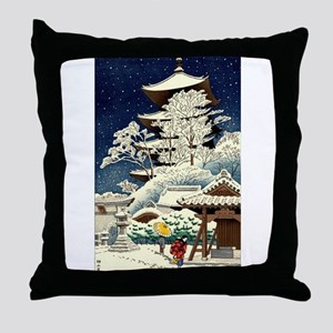 Cool Japanese Oriental Snow Winter Throw Pillow