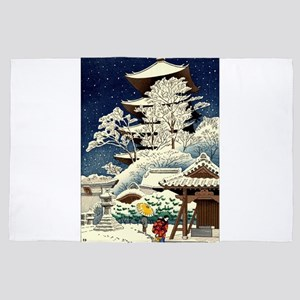 Cool Japanese Oriental Snow Winter 4' x 6' Rug