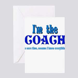 I'm the Coach -Blue Greeting Cards