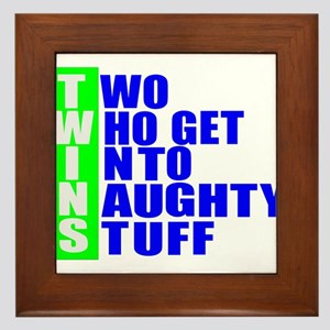 Naughty twins Framed Tile