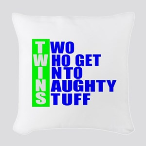 Naughty twins Woven Throw Pillow