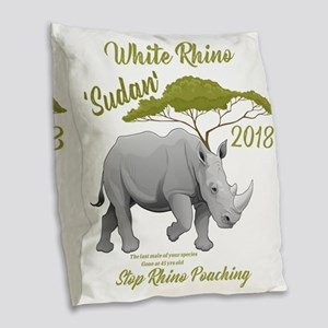 Stop Rhino Poaching - Tribute Burlap Throw Pillow