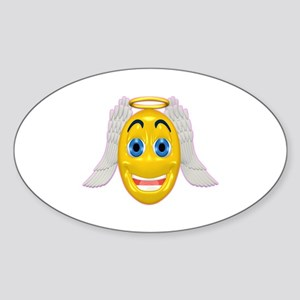 Cute Angel with Wings Oval Sticker