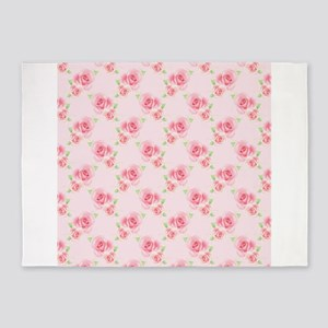 Pink Roses 5'x7'Area Rug