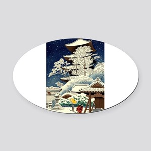Cool Japanese Oriental Snow Winter Oval Car Magnet