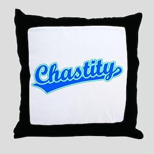 Retro Chastity (Blue) Throw Pillow
