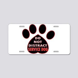 SERVICE DOG PAW DISTRACT Aluminum License Plate