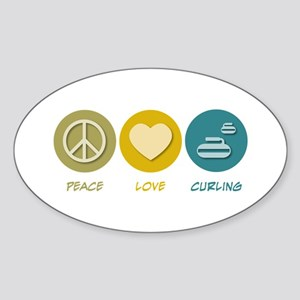 Peace Love Curling Oval Sticker
