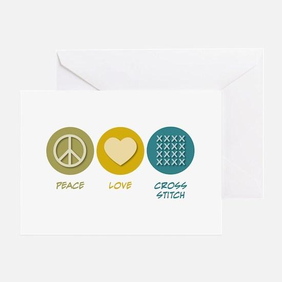 Peace Love Cross-stitch Greeting Card
