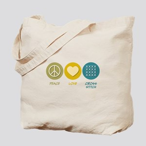 Peace Love Cross-stitch Tote Bag