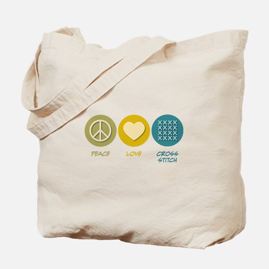 Peace Love Cross-stitch Tote Bag