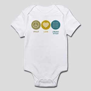 Peace Love Cross-stitch Infant Bodysuit