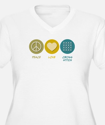 Peace Love Cross-stitch T-Shirt