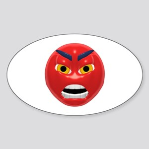 Very Angry Face Oval Sticker