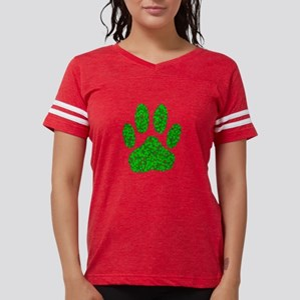 Green Foliage Dog Paw Prin T-Shirt