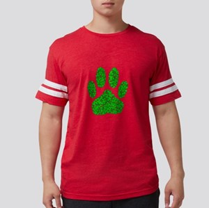 Green Foliage Dog Paw Prin T-Shirt