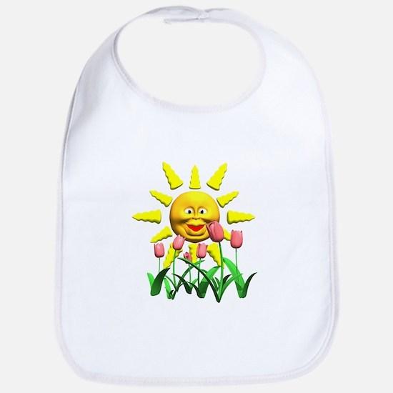 Happy Sun and Tulips Bib