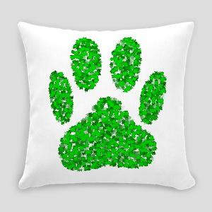 Foliage Dog Paw Print Everyday Pillow