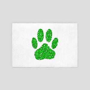 Foliage Dog Paw Print 4' x 6' Rug