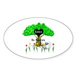 Love Is Green Oval Sticker (10 pk)