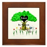 Love Is Green Framed Tile