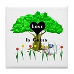 Love Is Green Tile Coaster