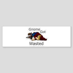 Gnome Got Wasted Bumper Sticker