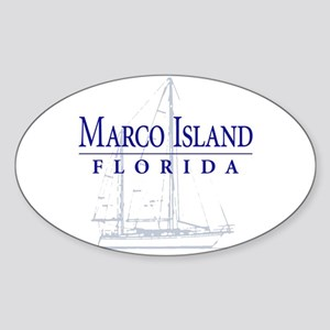 Marco Island Sailboat - Oval Sticker