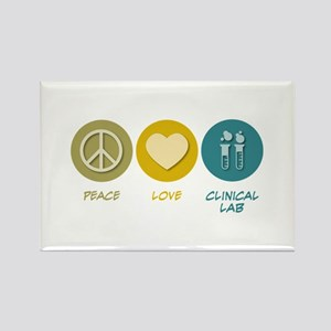 Peace Love Clinical Lab Rectangle Magnet