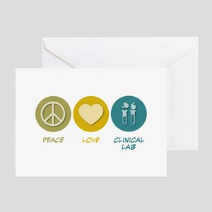 Peace Love Clinical Lab Greeting Cards (Pk of 10)