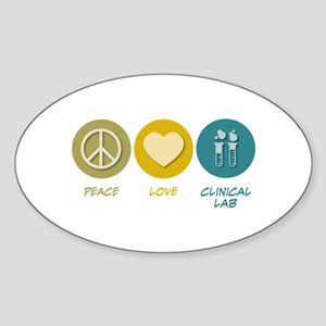 Peace Love Clinical Lab Oval Sticker