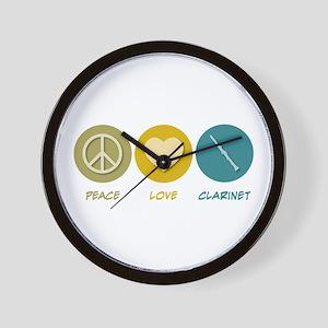 Peace Love Clarinet Wall Clock