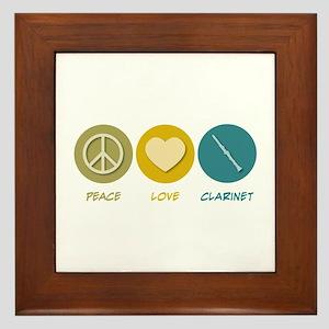 Peace Love Clarinet Framed Tile
