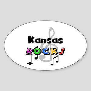 Kansas Rocks Oval Sticker