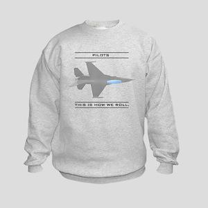 Pilots: How We Roll Kids Sweatshirt
