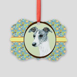 Whippet Retro Picture Ornament