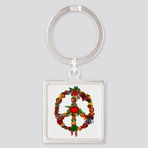 Veggie Peace Sign Square Keychain