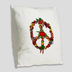 Veggie Peace Sign Burlap Throw Pillow