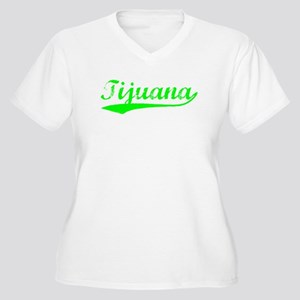 Vintage Tijuana (Green) Women's Plus Size V-Neck T