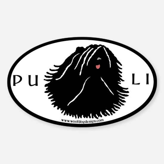 Puli Dog w/ white highlights Sticker #1 (Oval)