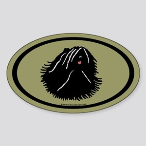 Puli Dog Oval (black on sage) Oval Sticker