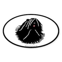 Puli Dog Oval (black border) Oval Decal