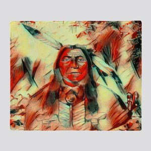 Red Feather Chief Throw Blanket