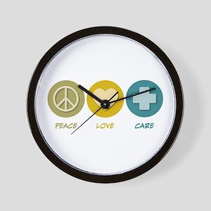 Peace Love Care Wall Clock