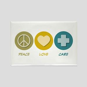 Peace Love Care Rectangle Magnet