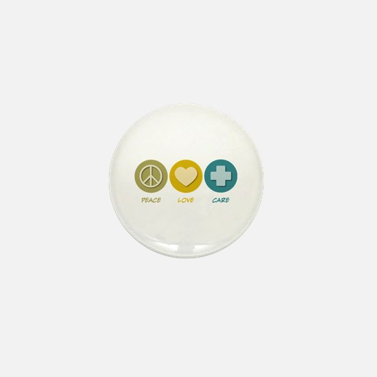 Peace Love Care Mini Button