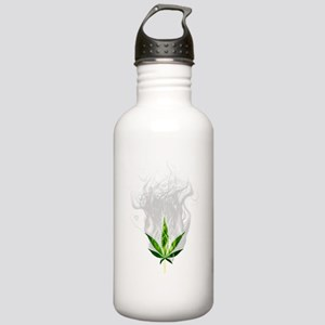 Smoked out weed leaf Water Bottle